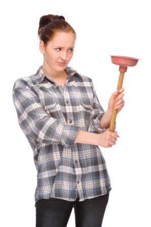 lumberman: Full isolated studio picture from a young woman with plunger Stock Photo