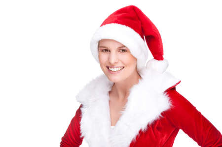 Full isolated studio picture from a beautiful woman in christmas dress photo