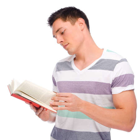Full isolated studio picture from a young man with book photo