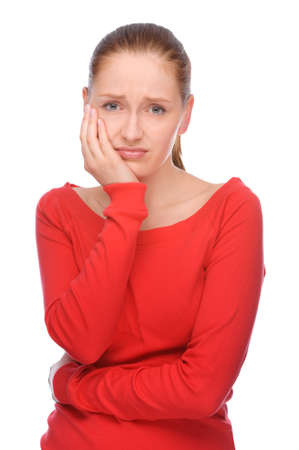 Full isolated studio picture from a young woman with toothache Stock Photo - 13304217