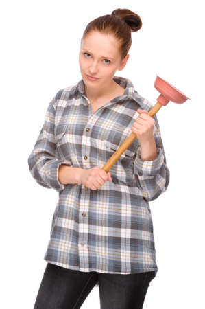 plunger: Full isolated studio picture from a young woman with plunger Stock Photo