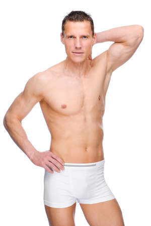 Full isolated studio picture from a young naked man with underwear Stock Photo - 13310208