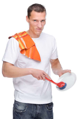 Full isolated studio picture from a young house husband at work Stock Photo - 13309987