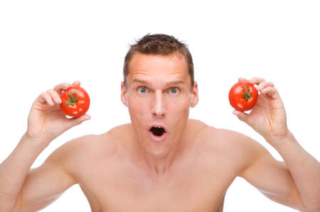 Full isolated studio picture from a young naked man with underwear and tomato photo