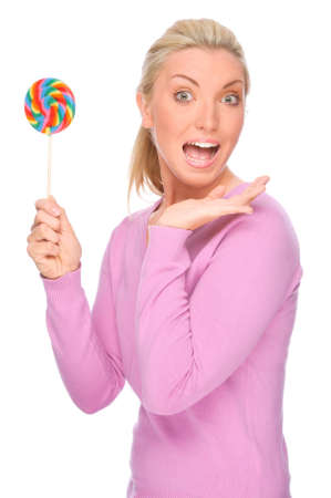 Full isolated portrait of a beautiful woman with sweets Stock Photo - 13309820