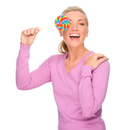 Full isolated portrait of a beautiful woman with sweets photo