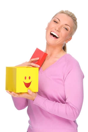Full isolated portrait of a beautiful woman with box photo