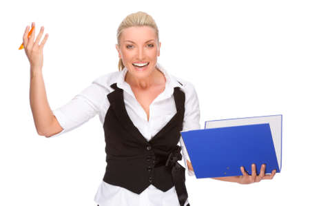 learner: Full isolated portrait of a caucasian businesswoman with folder Stock Photo