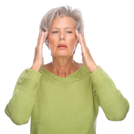 Full isolated portrait of a senior woman with headache photo
