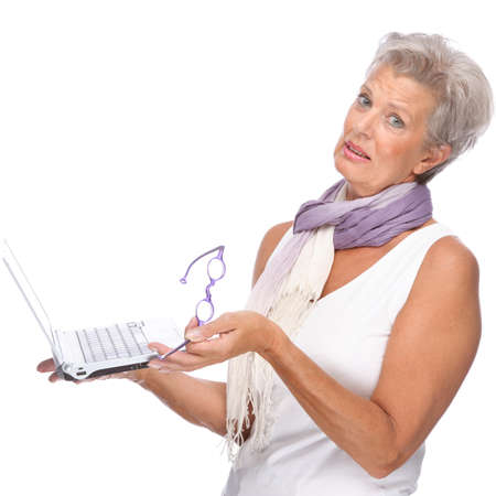 computer problem: Full isolated portrait of a senior woman with notebook