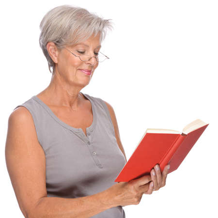 Full isolated portrait of a senior woman with red book photo