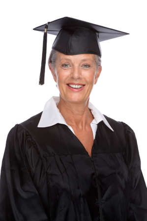 graduacion de universidad: Retrato de cuerpo aislado de un graduado superior activa Foto de archivo
