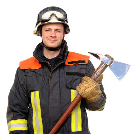 Picture from a young and successful firefighter at work photo