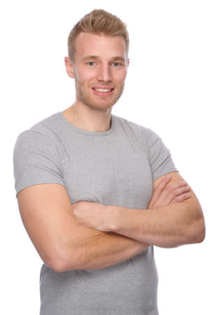 Full isolated portrait of a  smiling young man photo