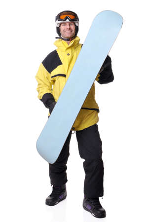 Full isolated studio picture from a snowboarder Imagens