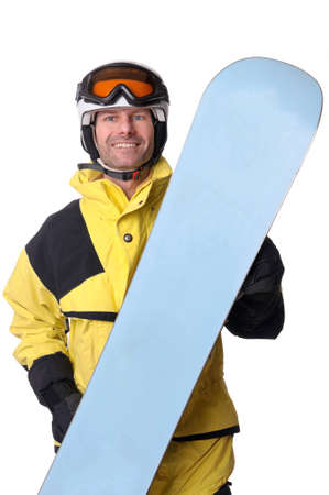 Full isolated studio picture from a snowboarder photo