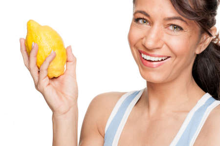 Full isolated woman with lemon photo