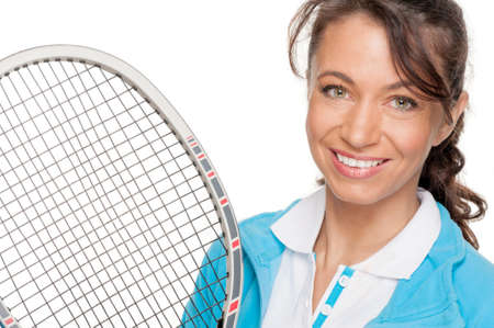 Full isolated woman with tennis racket photo