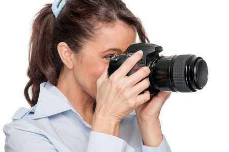 Full isolated woman with dslr Stock Photo - 14540432