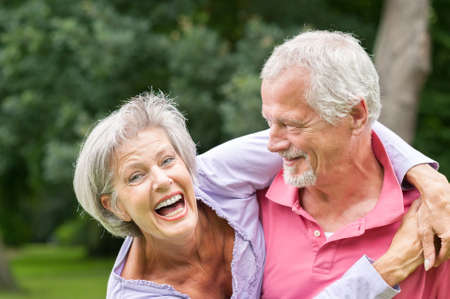 healthy seniors: Happy and smiling senior couple in love Stock Photo