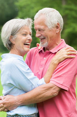 pensioners: Happy and smiling senior couple in love Stock Photo
