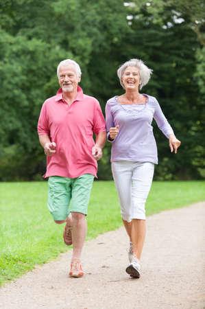 ジョグ: 公園内のアクティブな年配のカップル
