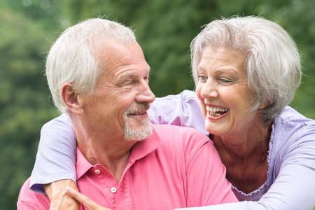 elderly couples: Happy and smiling senior couple in love Stock Photo