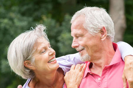 Happy and smiling senior couple in love Stock Photo