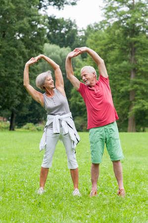 anciano feliz: Par mayor activo en el parque haciendo gimnasia Foto de archivo
