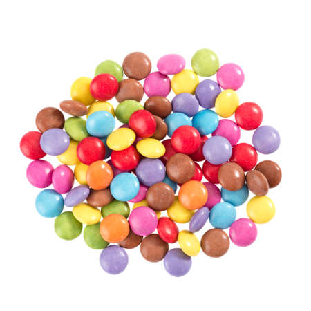 sugarcoated: Colorful chocolate in front of white background