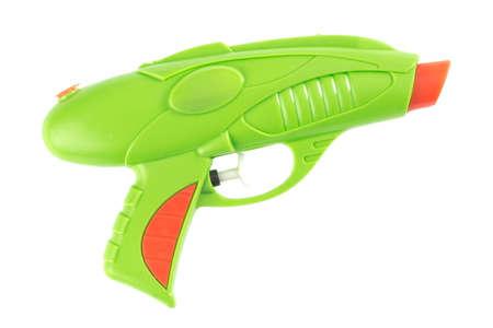 watergun: Squirt gun in front of white background