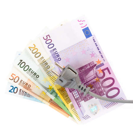 power of money: Euro banknotes with cable in front of white background