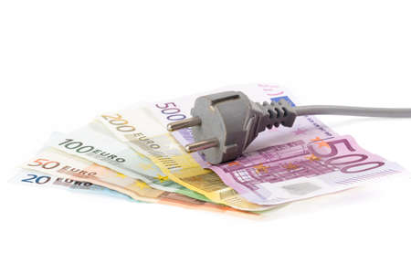 Euro banknotes with cable in front of white background Stock Photo - 16455678