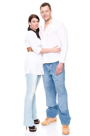 young man jeans: Young and happy couple in front of white background