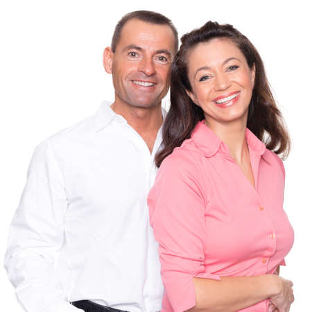happy couple white background: Happy couple in front of white background