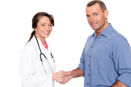 Doctor with patient in front of white background photo