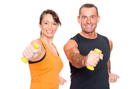 Sport couple in front of white background photo