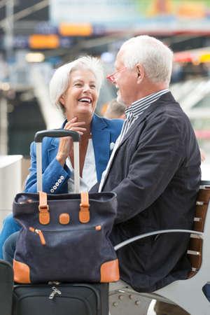 Senior couple at the railway station