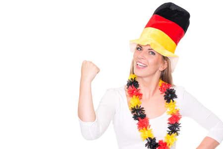 German soccer fan in front of white background Reklamní fotografie