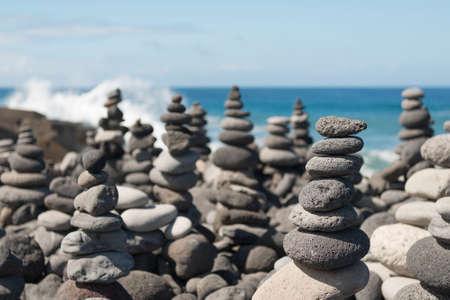Grey stone cairn on the island Teneriffa