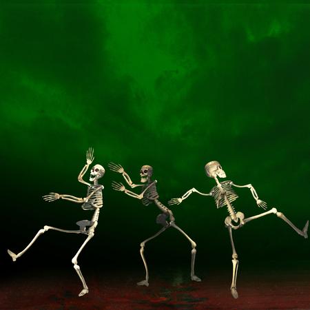 Halloween skeletons dancing. Green background. Stock Photo