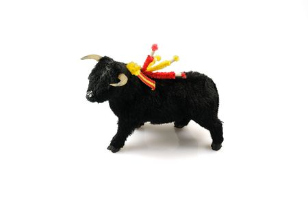 Toy black corrida ox isolated on white Stock Photo