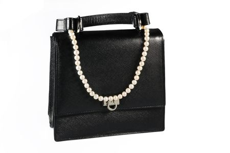 Evening woman bag with white pearl necklace