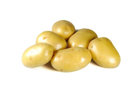 Fresh washed tuber of potato isolated on white Stock Photo