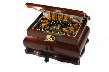Jeweller casket with amber necklace, black pearl necklace isolated on white