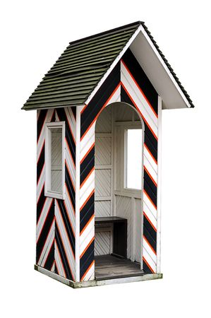 Old guard cabin isolatedon white