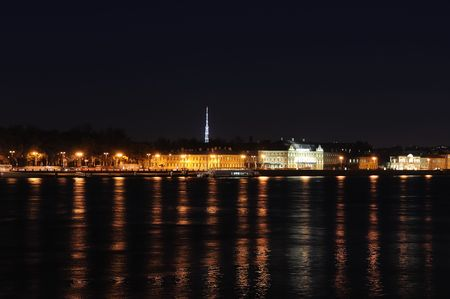 Night panorama of the city of St. Petersburg