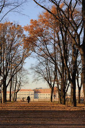 Autumn park avenue in Saint Petersburg