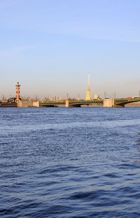 Kind on the Neva river, the Dvortsovy bridge and the Peter and Paul Fortress