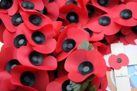 The idea of poppies dates back to the poem In Flanders Fields about the First World War, after which the British Legion was founded. Poppies are worn until Remembrance Day to remember the fallen of the First World War, and implicitly of all wars Stock Photo